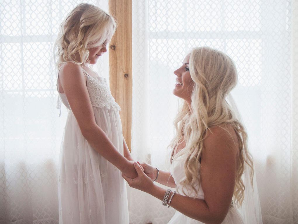 John P Furber Farm wedding bride and flower girl